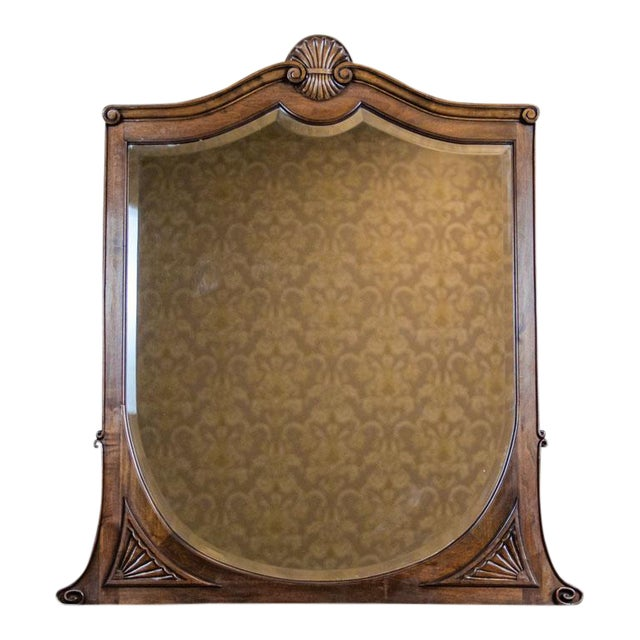 20th-Century Crystal Mirror in a Wooden Frame (1927) For Sale
