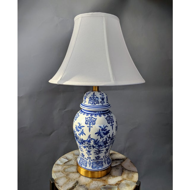 Blue Blue and White Ceramic Lamp For Sale - Image 8 of 13