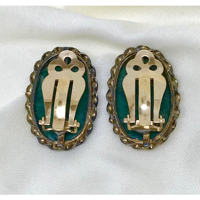 1940s Carved Jade, Sterling and 14k Clip-Back Earrings For Sale - Image 4 of 8