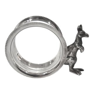Mid-Century Modern Silver Kangaroo Figural Silver Napkin Ring