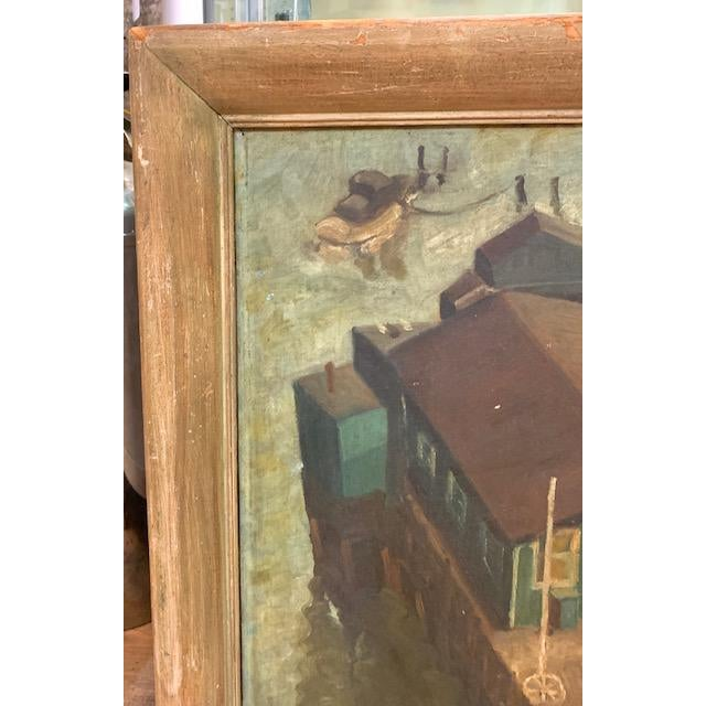 Wpa Era 1940 Oil Painting - Houseboat - Signed For Sale - Image 9 of 9