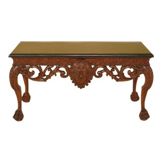 Georgian Style Carved Mahogany Marble Top Console Table For Sale