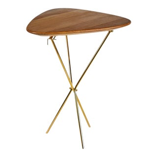 Carl Auböck Model #3642 Brass and Oak Table For Sale