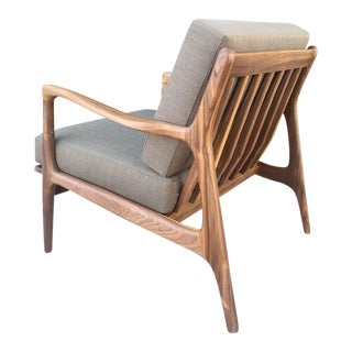 Custom Lounge Chair in Rich Olive For Sale