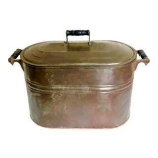 Antique Copper Boiler Basin For Sale