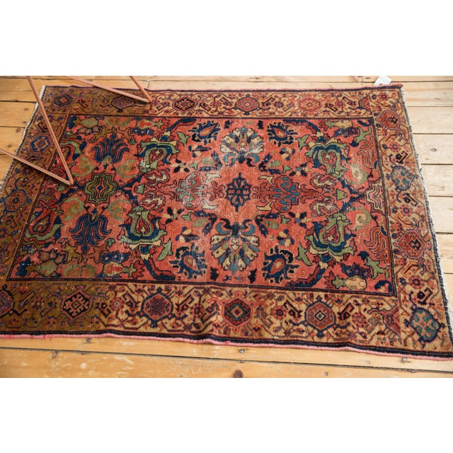 "Cotton Vintage Fine Malayer Square Rug - 3'5"" X 4'6"" For Sale - Image 7 of 10"