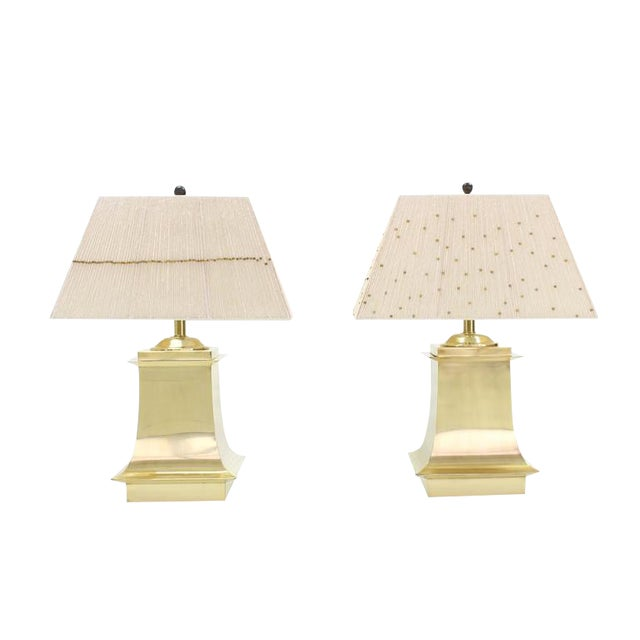 Mid-Century Modern Brass Beads Shade & Brass Base Table Lamps -A Pair For Sale
