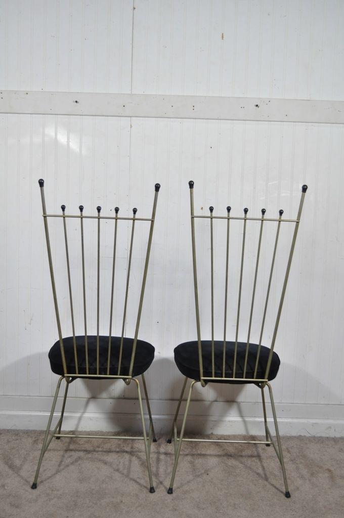 4 Vintage Mid Century Modern Metal Dining Chairs Frederic Weinberg  Salterini Style   Image 3 Of