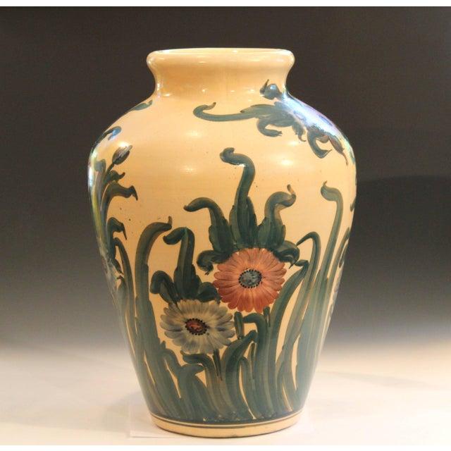 "Huge and rare RRPCO Dedonatis vase, circa early 20th century. Measures: 23"" high, 16"" diameter. Excellent condition."