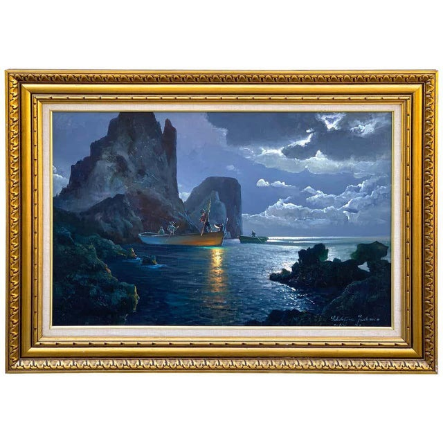 Evening Capri Seascape by Salvatore Federico, Italian, 20th Century For Sale - Image 11 of 11