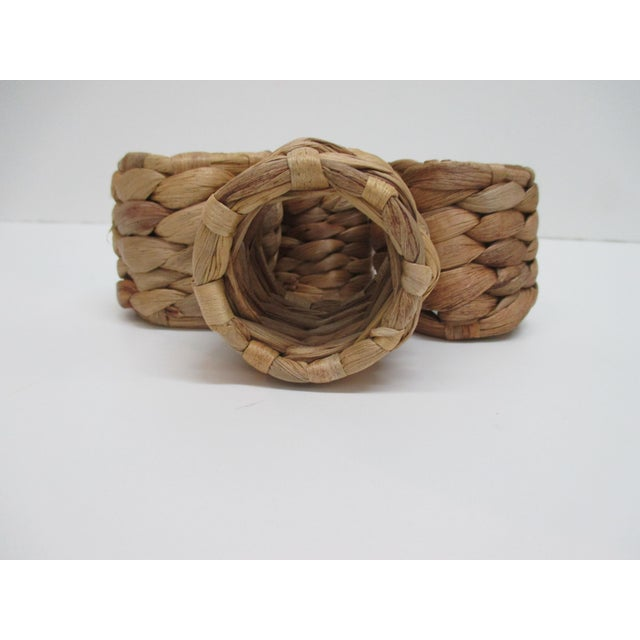 Boho Chic Set of (4) Round Seagrass Napkins Holders For Sale - Image 3 of 5