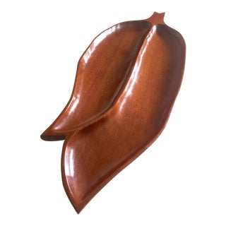 Mid Century Modern Haiti Hand Carved Mahogany XLarge Leaf Divided Wood Serving Platter Tray For Sale