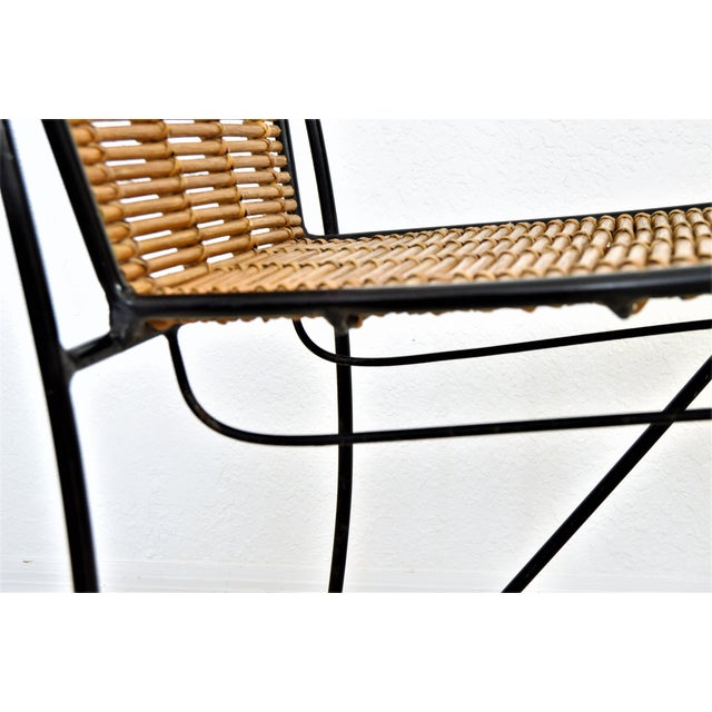 Brown Ficks & Reed Mid-Century Organic Modern Bamboo & Rod Iron Chair Pencil Reed Rattan Albini Weinberg Style -- Tropical Boho Chic Mid Century Modern MCM For Sale - Image 8 of 11