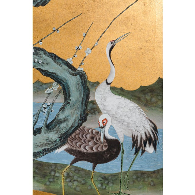 """Inspired by the Rinpa School of Japanese paintings, founded by Ogata Korin, a 6-panel """"Red-Crowned Cranes Family at the..."""