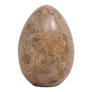 Large Carved Marble Stone Egg Objet Paperweight For Sale