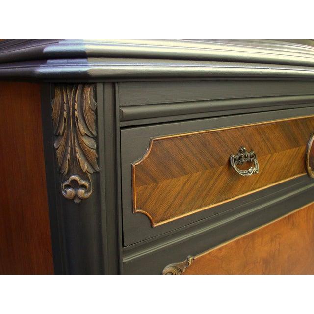 Vintage Flame Walnut & Black Highboy Dresser - Image 5 of 10