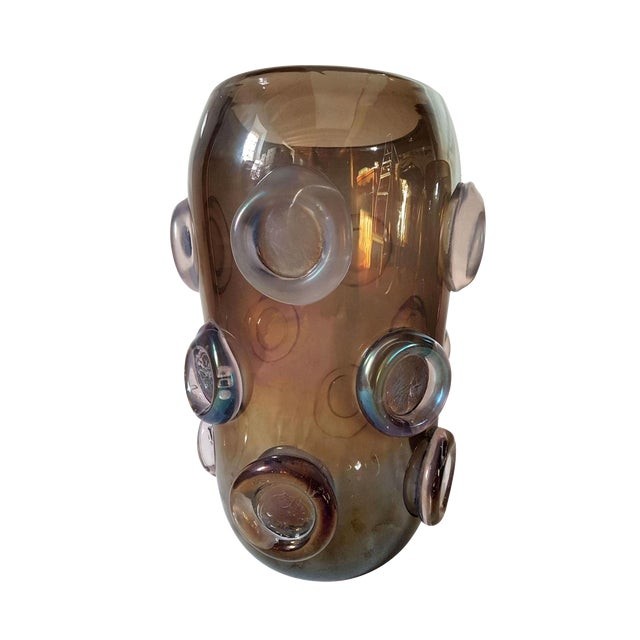 Large Mid Century Modern Brown & Purple Iridescent Vase, by Seguso 1970s For Sale