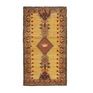 Antique Sarouk-Farahan Beige and Red Wool Persian Rug With Rare Scorpion Boteh For Sale