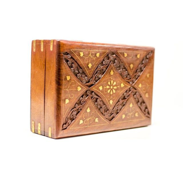 Engraved Wood Moroccan Jewelry Box - Image 7 of 7