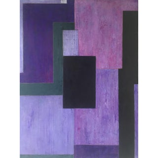 Abstract Monochromatic Geometric Violet Painting by Stephen Cimin For Sale