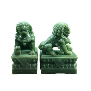 Vintage Jade Foo Dog- a Pair For Sale