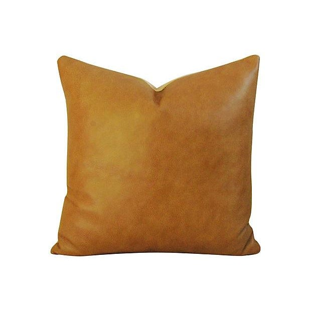 Custom Italian Golden Tan Leather Feather/Down Pillows - a Pair - Image 3 of 5