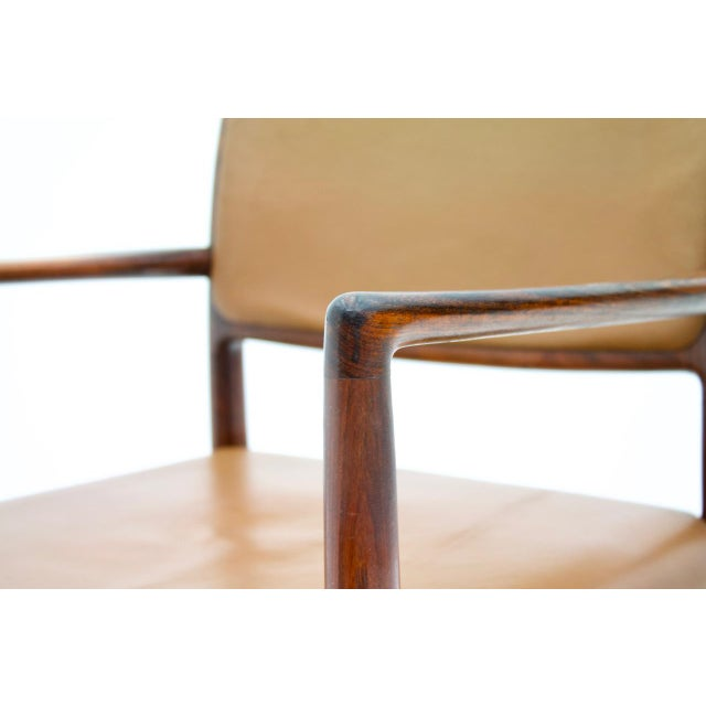 Scandinavian Armchairs in Rosewood and Brown Leather 1960s For Sale - Image 6 of 9