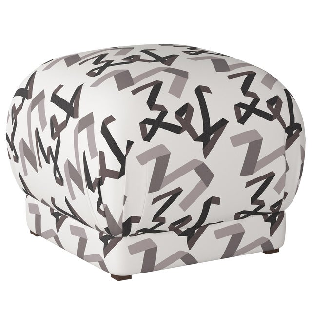 Ottoman in Black Ribbon by Angela Chrusciaki Blehm for Chairish For Sale