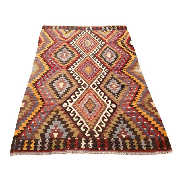 Vintage Turkish Kilim Rug - 5′5″ × 8′5″ For Sale