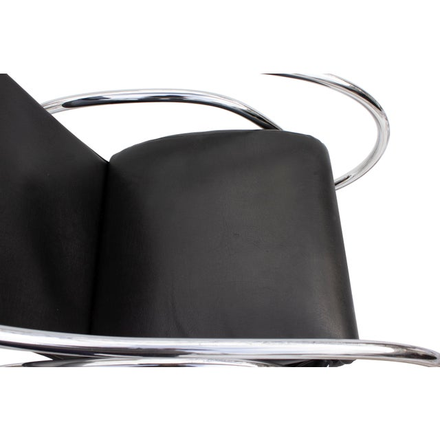Black Sculptural Rocking Chair in Tubular Chrome For Sale - Image 8 of 11