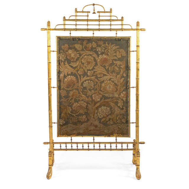 Late 19th Century French Victorian Gilt Faux Bamboo Fire Screen For Sale - Image 5 of 5