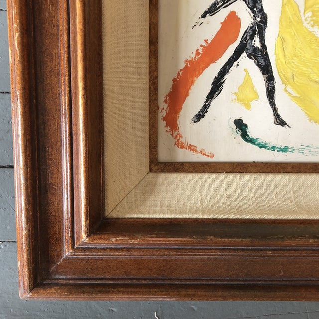 1970s Original Vintage Female Nude Leaping Figures Abstract Painting For Sale - Image 5 of 7