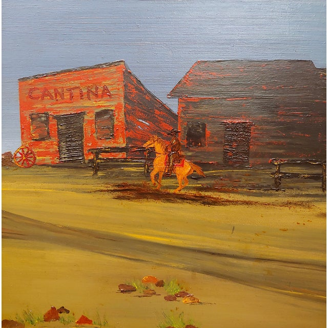 "John Lewis Egenstafer ""Wild West Town"" Oil Painting For Sale - Image 4 of 7"
