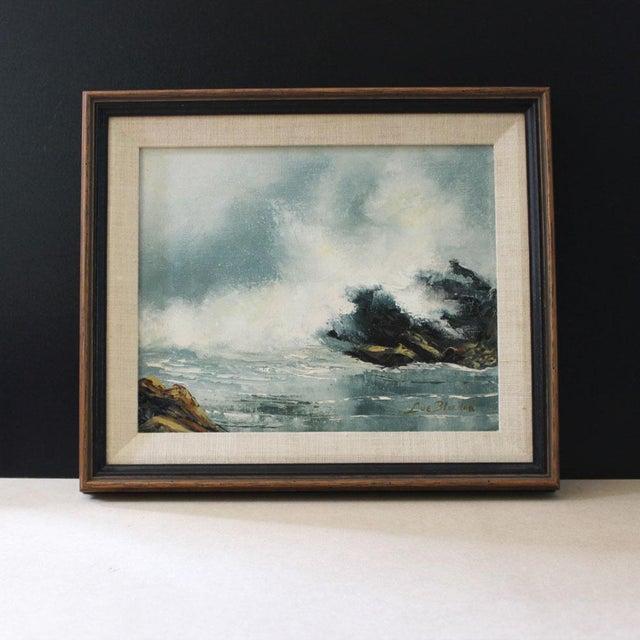 Mid-Century Modern Vintage Mid-Century Modern Ocean Scene Oil Painting For Sale - Image 3 of 6