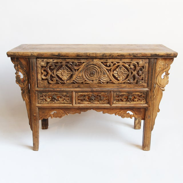 Antique Carved Mongolian Console - Image 2 of 5