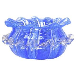 Small Venetian Lattice Art Glass Bowl For Sale