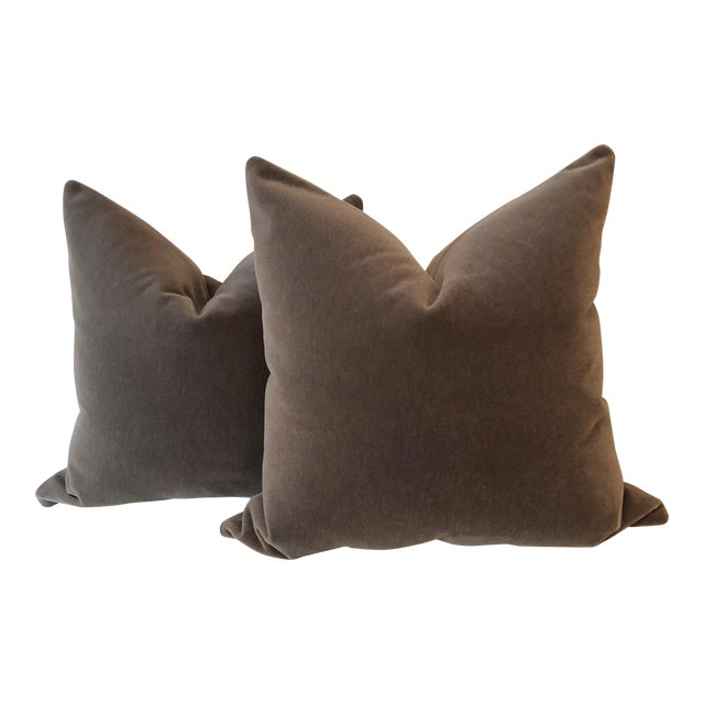 "Mink Brown Mohair Pillows - 22"" x 22"" - A Pair - Image 1 of 5"