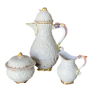 Meissen Swan Service With Indian Flowers With Gold 3 Piece Coffee Service Set For Sale