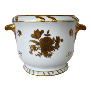 1970s Vintage Gold & White Porcelain Cachepot For Sale