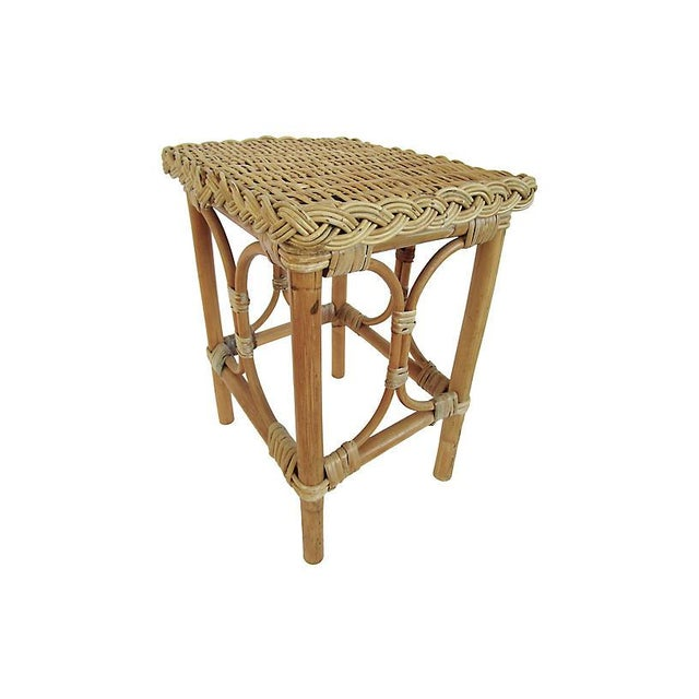 1930s English Rattan & Bamboo Side Table For Sale - Image 5 of 5