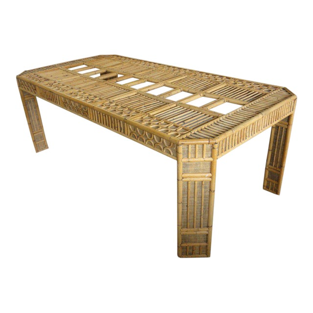 Intricate Natural Bamboo Dining Table For Sale