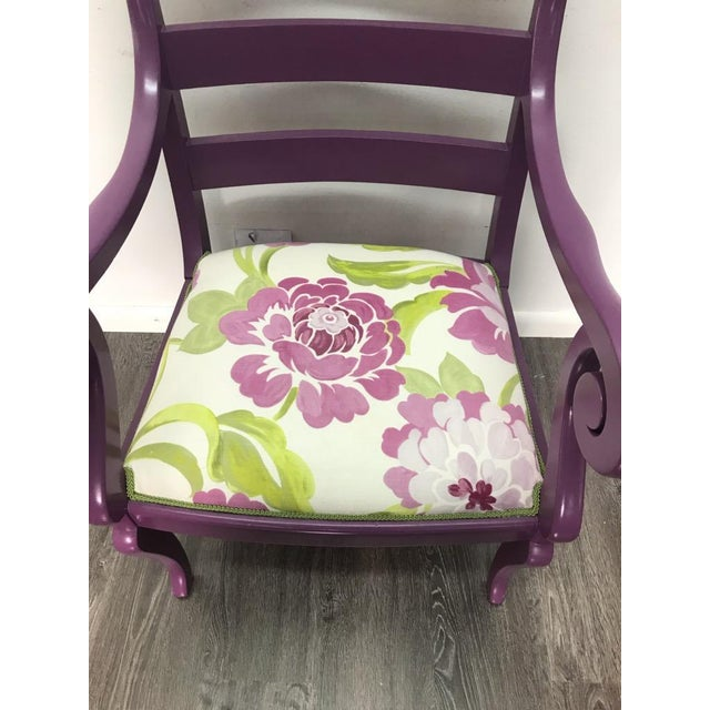 Boho Chic Accent Chair in Purple With Floral Upholstery & Pillow For Sale - Image 3 of 8