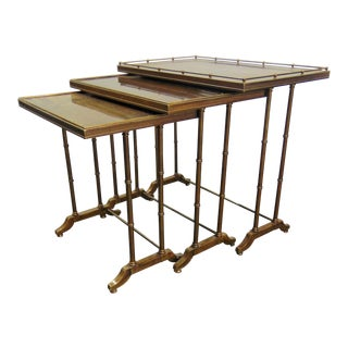 Hollywood Regency Brass Faux Bamboo Nest of Tables For Sale
