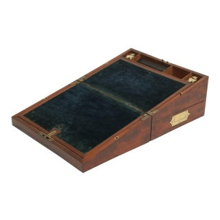Mahogany Slope Desk Campaign Chest, Key For Sale