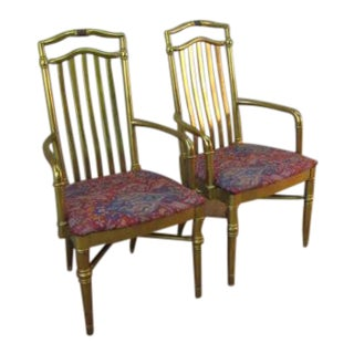Drexel Gold Regency Decorator Arm Chairs - a Pair For Sale