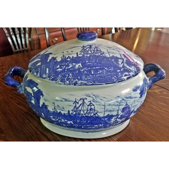 Pair of 19c Staffordshire Ironstone Lidded Tureens of Shipping Scenes For Sale - Image 10 of 13