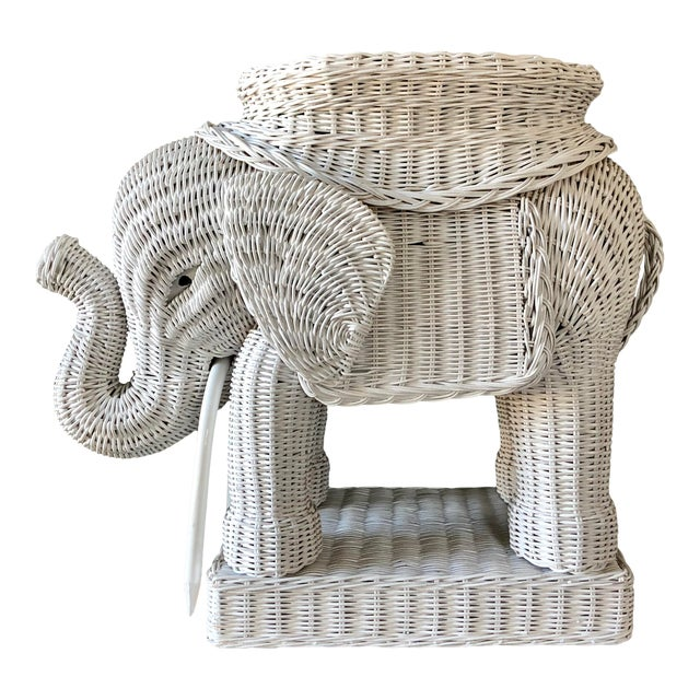 Vintage White Wicker Elephant Side Table For Sale