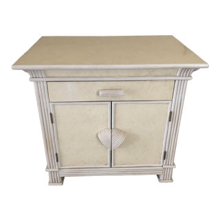 Tropical Nightstand With Wood Body and White Textured Finish For Sale
