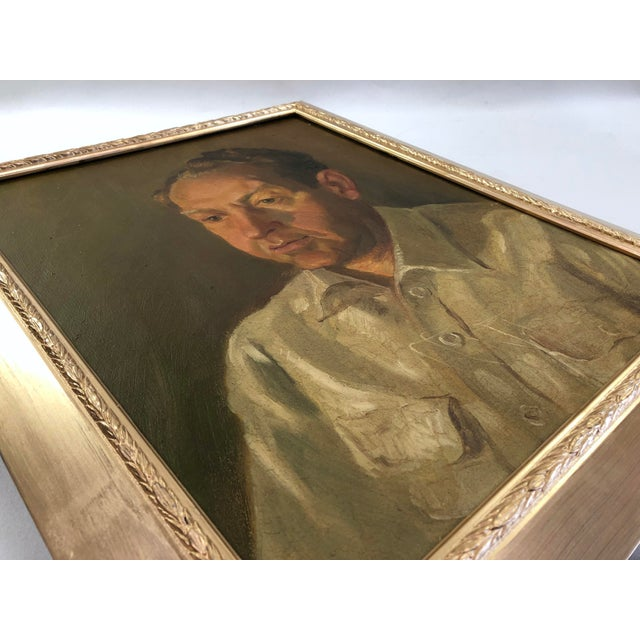 1940s Vintage Portrait of a Man in White Shirt Oil on Canvas Painting For Sale - Image 10 of 12