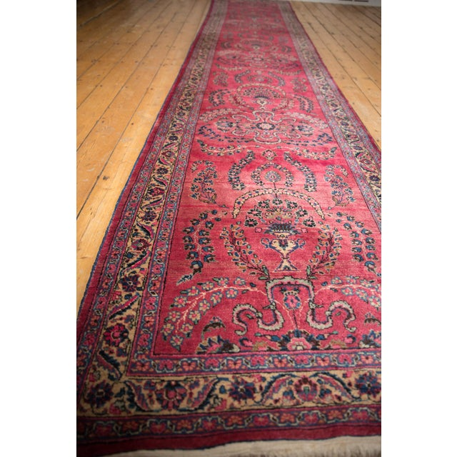"Vintage Meshed Rug Runner - 3'4"" X 16'1"" For Sale - Image 9 of 13"